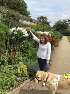 Harriet and Guide Dog Sparky touching some purple flowers in a garden