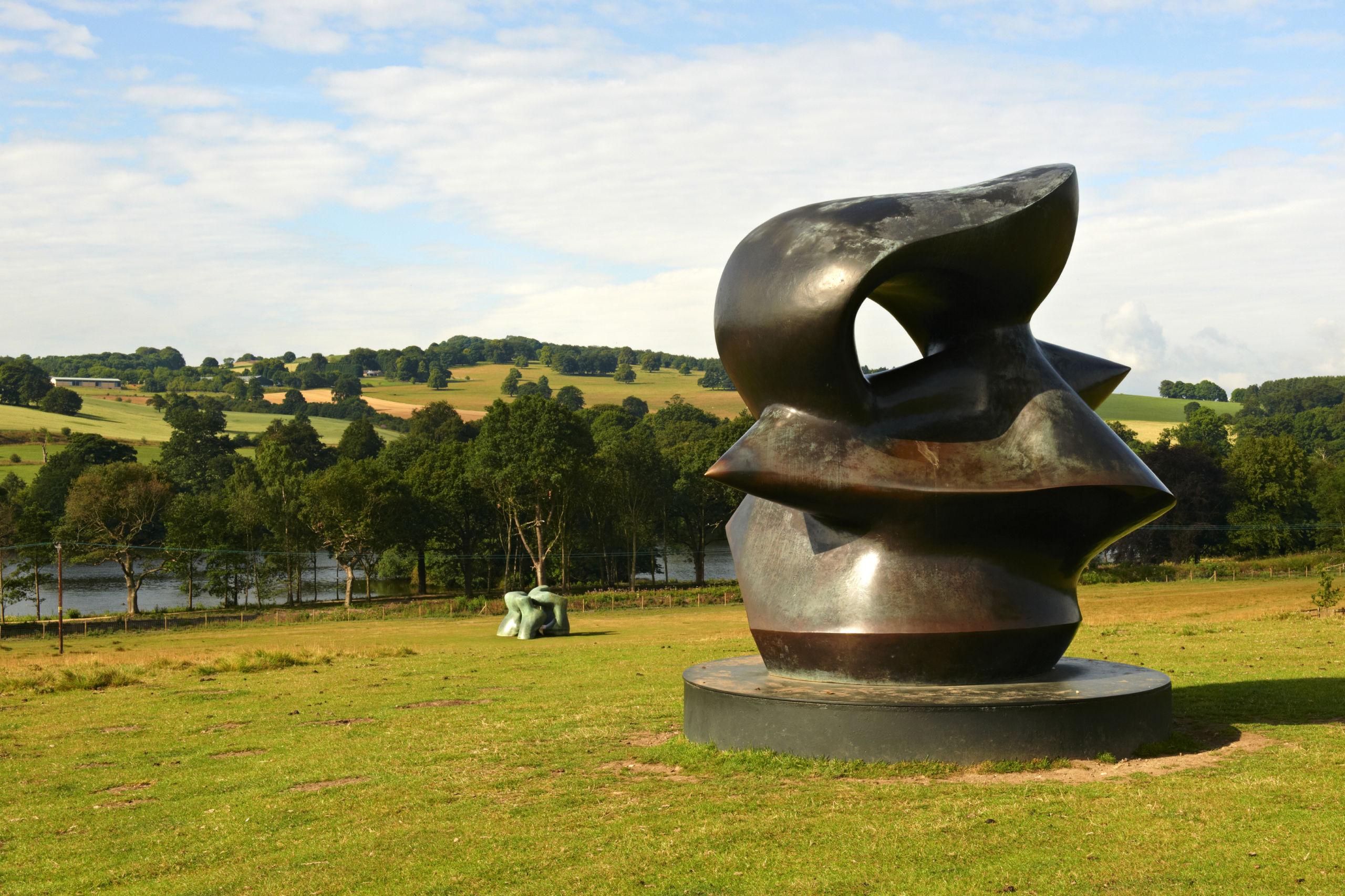 Bronze sculpture overlooking the countryside